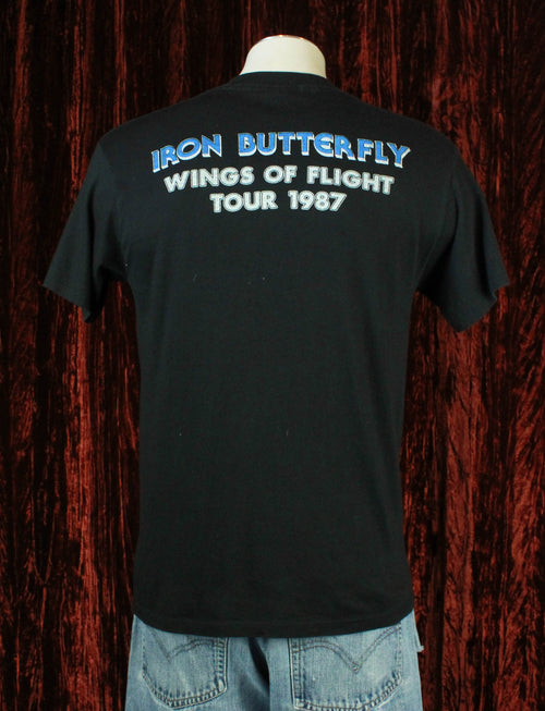 Vintage Iron Butterfly Concert T Shirt 1987 Wings Of Flight Tour - Large