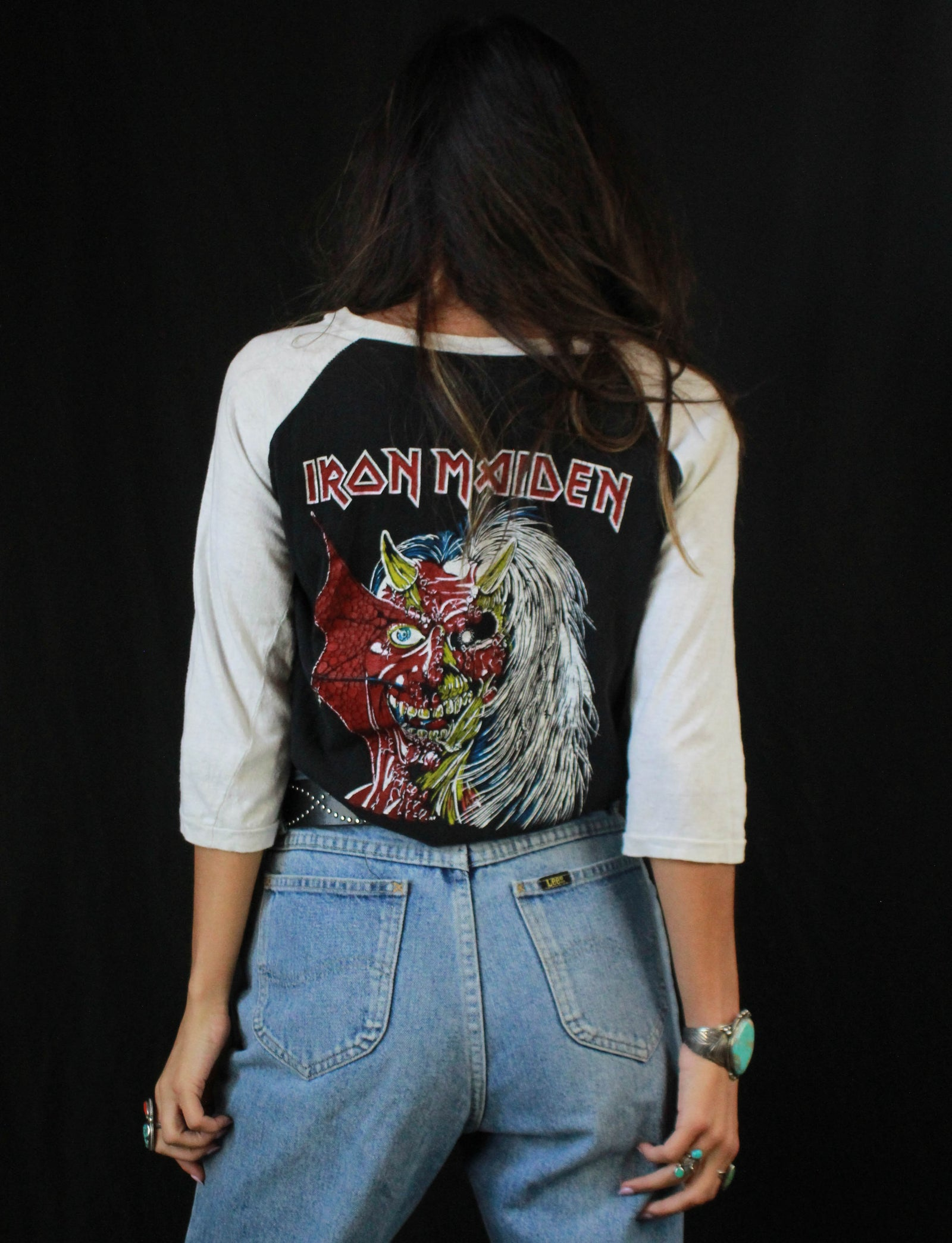 Vintage Iron Maiden Concert T Shirt 1980's Double Sided Parking Lot Tee Unisex Medium