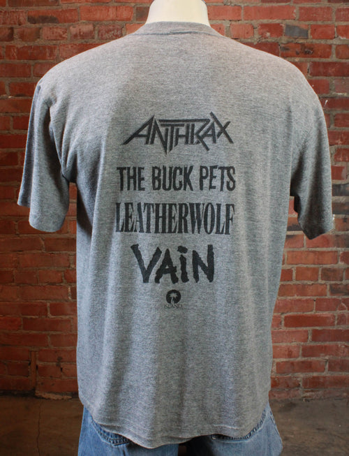 Vintage Island Records Promo T Shirt 80's Anthrax, The Buck Pets, Leatherwolf, Vain Extra Large