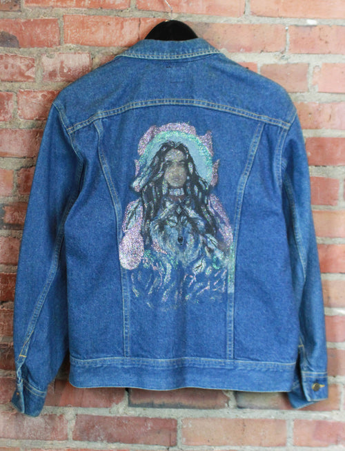 Women's Vintage Lee Denim Jacket with Native American Painting Medium