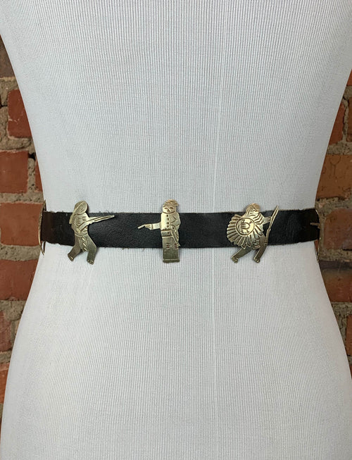 Vintage Mexican Sterling Silver Black Leather Native American Belt - 28