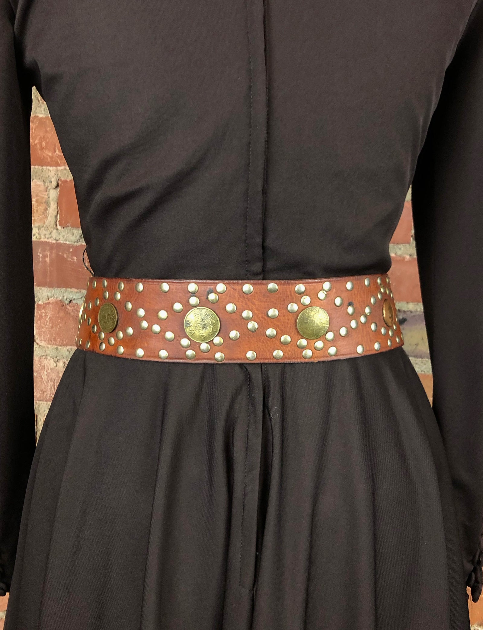 Vintage Moroccan Brown Leather Coin Studded Belt - 32