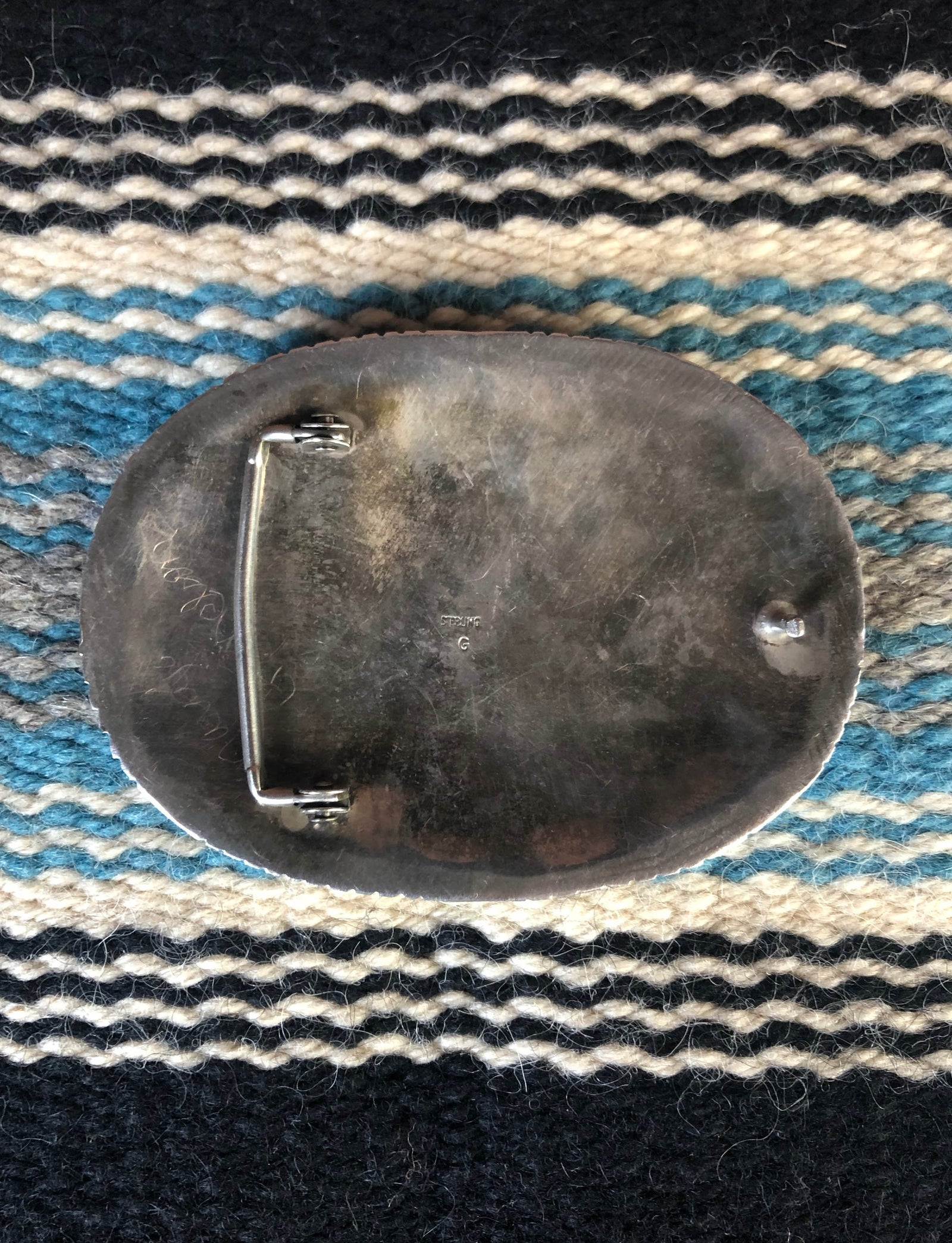 Vintage Navajo Sterling Silver And Turquoise Belt Buckle
