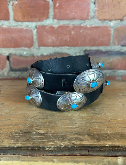 Vintage Navajo Sterling Silver Turquoise Concho Black Leather Belt - 28