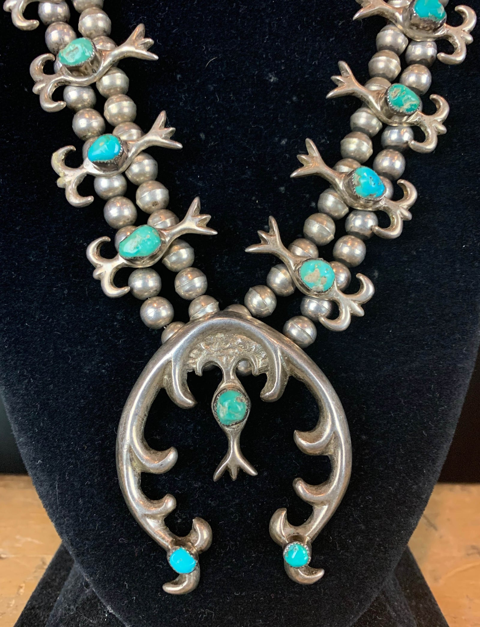 Vintage Navajo Sterling Silver Turquoise Squash Blossom Necklace