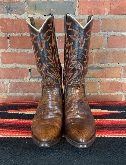 Vintage Nocona Brown Leather Lizard Cowboy Boots - Men's 8/Women's 10