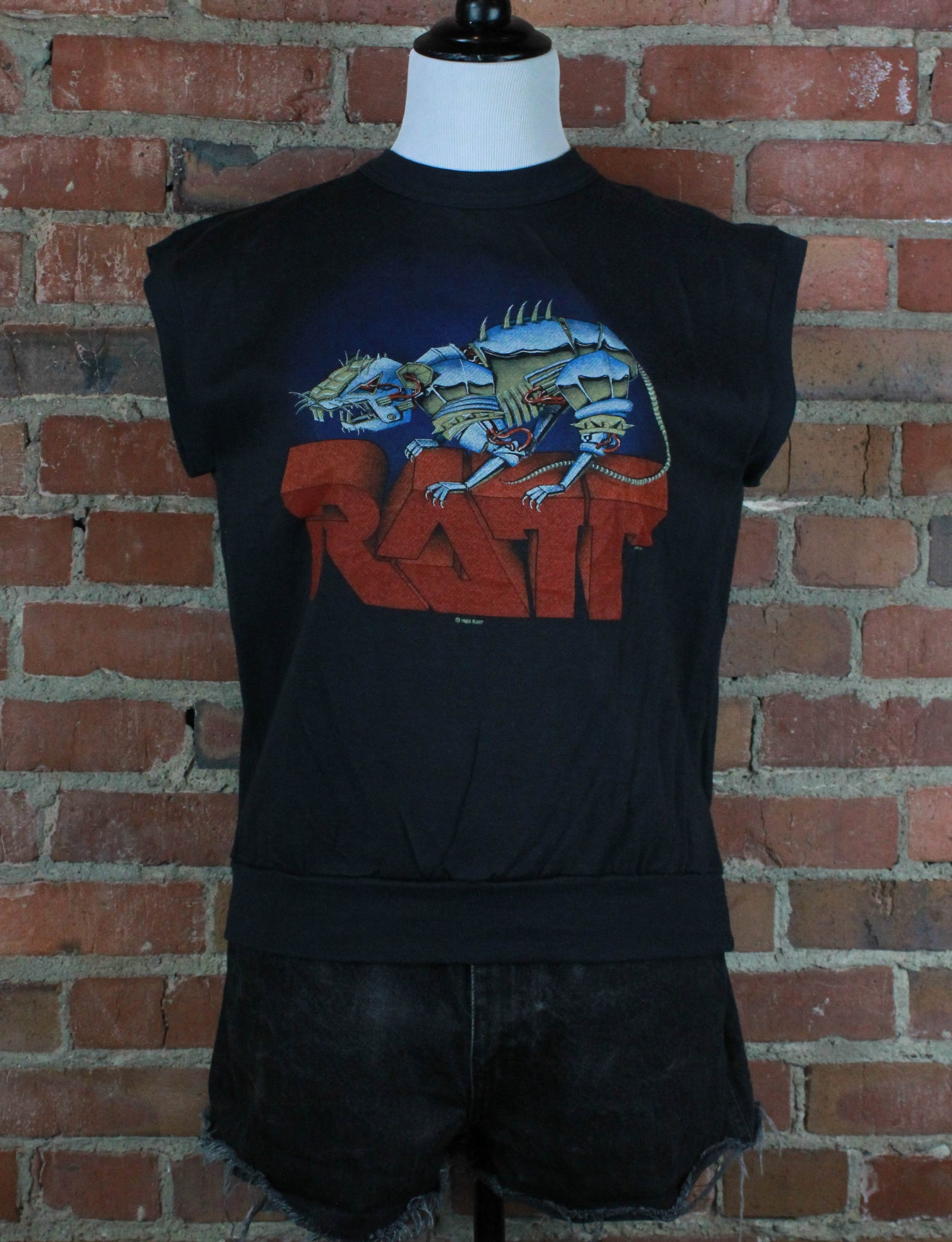 Vintage Ratt Concert T Shirt 1983 Fleece Lined Muscle Top - Small/Medium