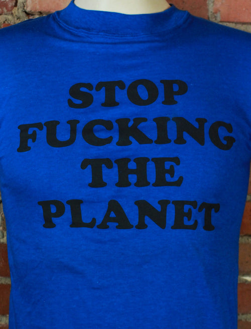 Vintage Recycled Stop F*cking The Planet Green T Shirt - Small