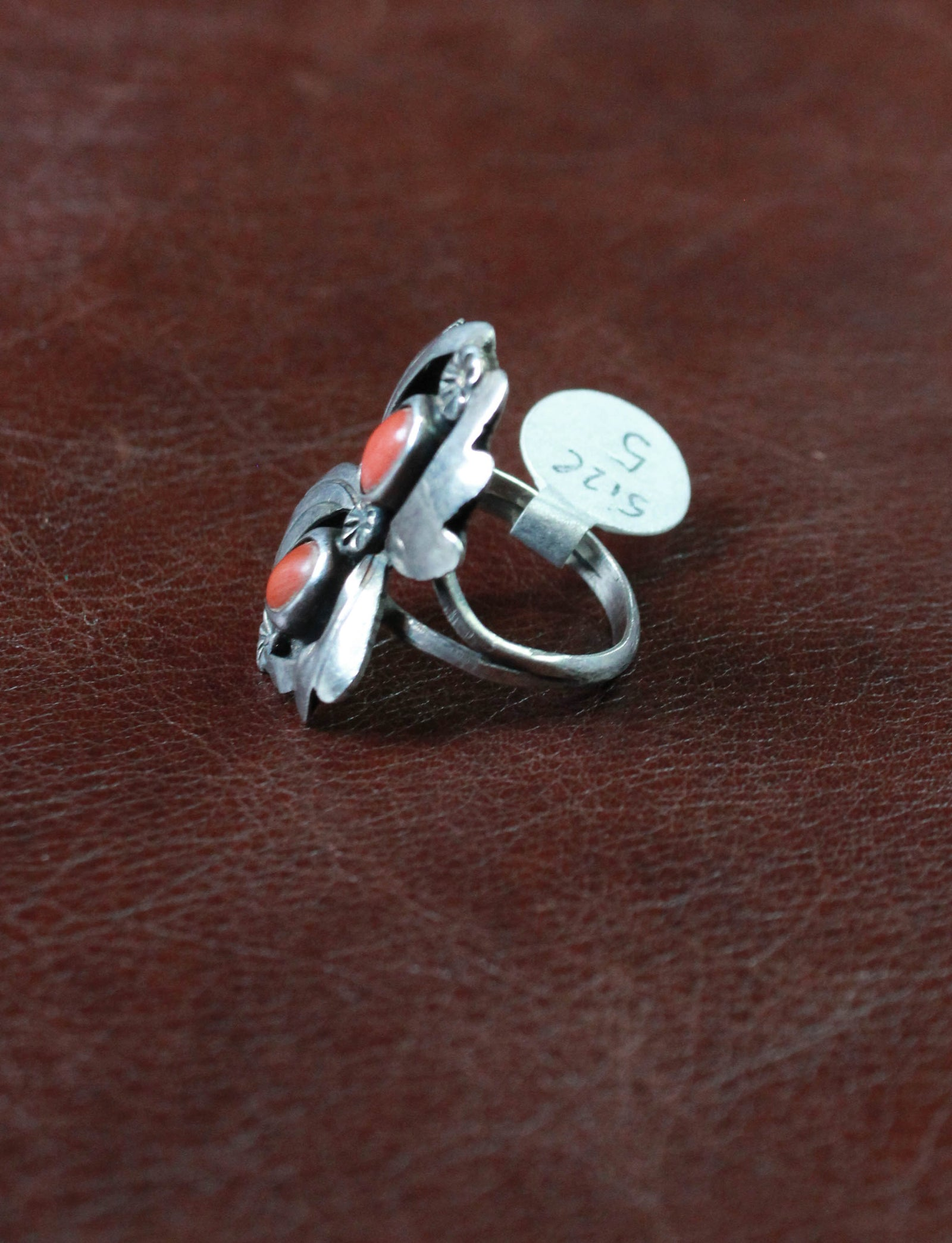 Vintage Sterling Silver And Coral Ring Size 5