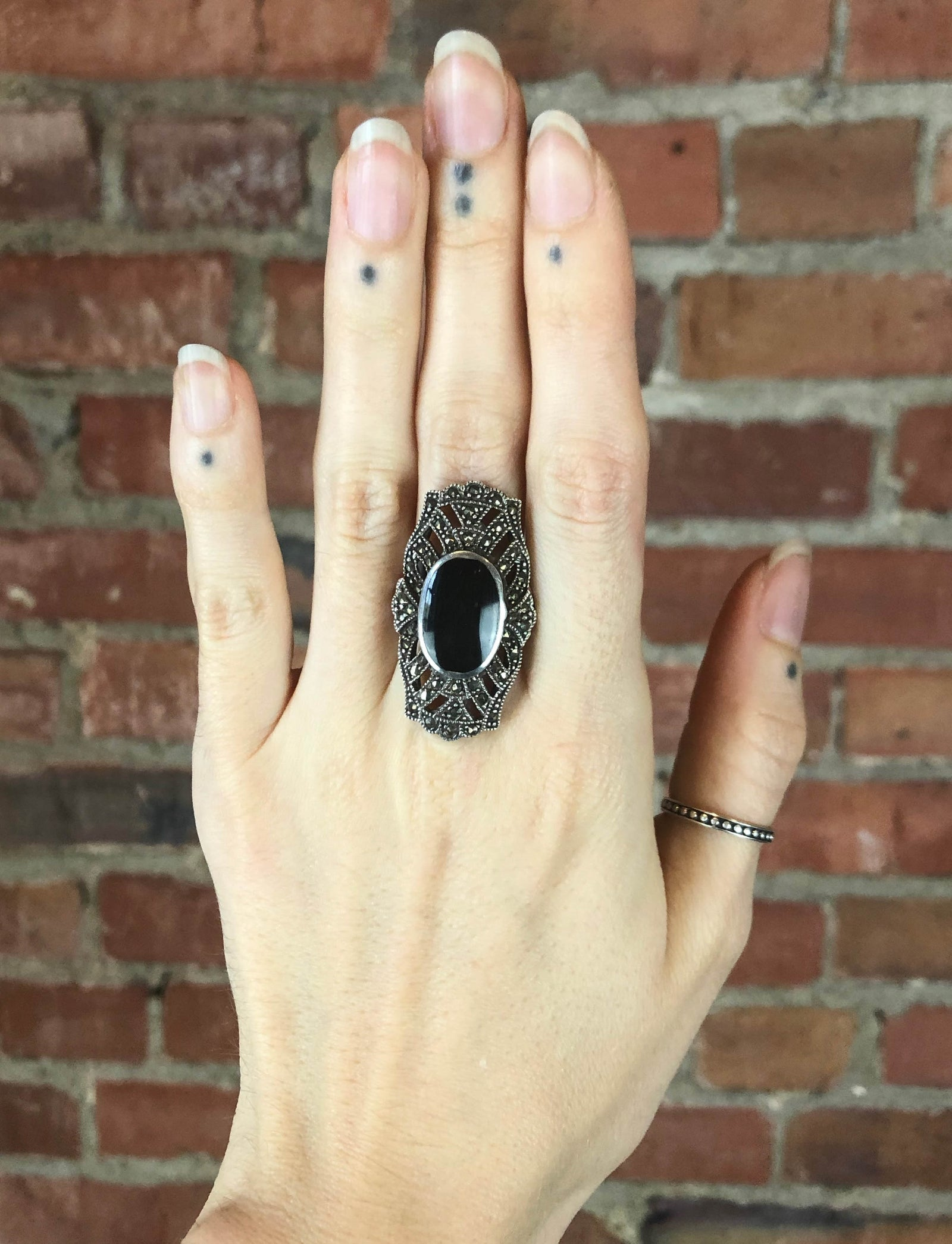 Vintage Sterling Silver Black Onyx Deco Ring - Size 7