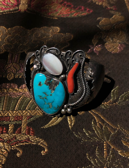 Vintage Sterling Silver Cuff Bracelet With Turquoise, Red Jasper, Mother Of Pearl