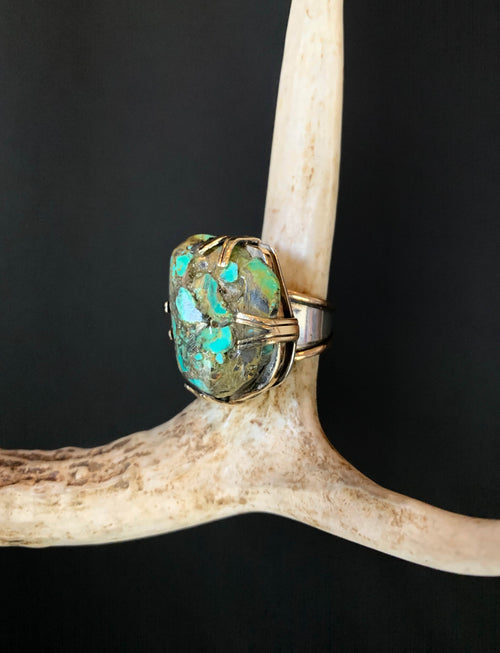 Vintage Sterling Silver And 18K Gold Raw Turquoise Ring - Size 5
