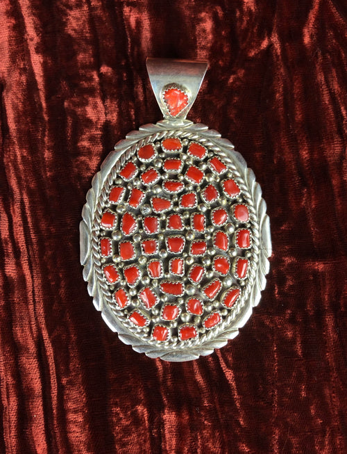 Vintage Sterling Silver Red Coral Large Pendent