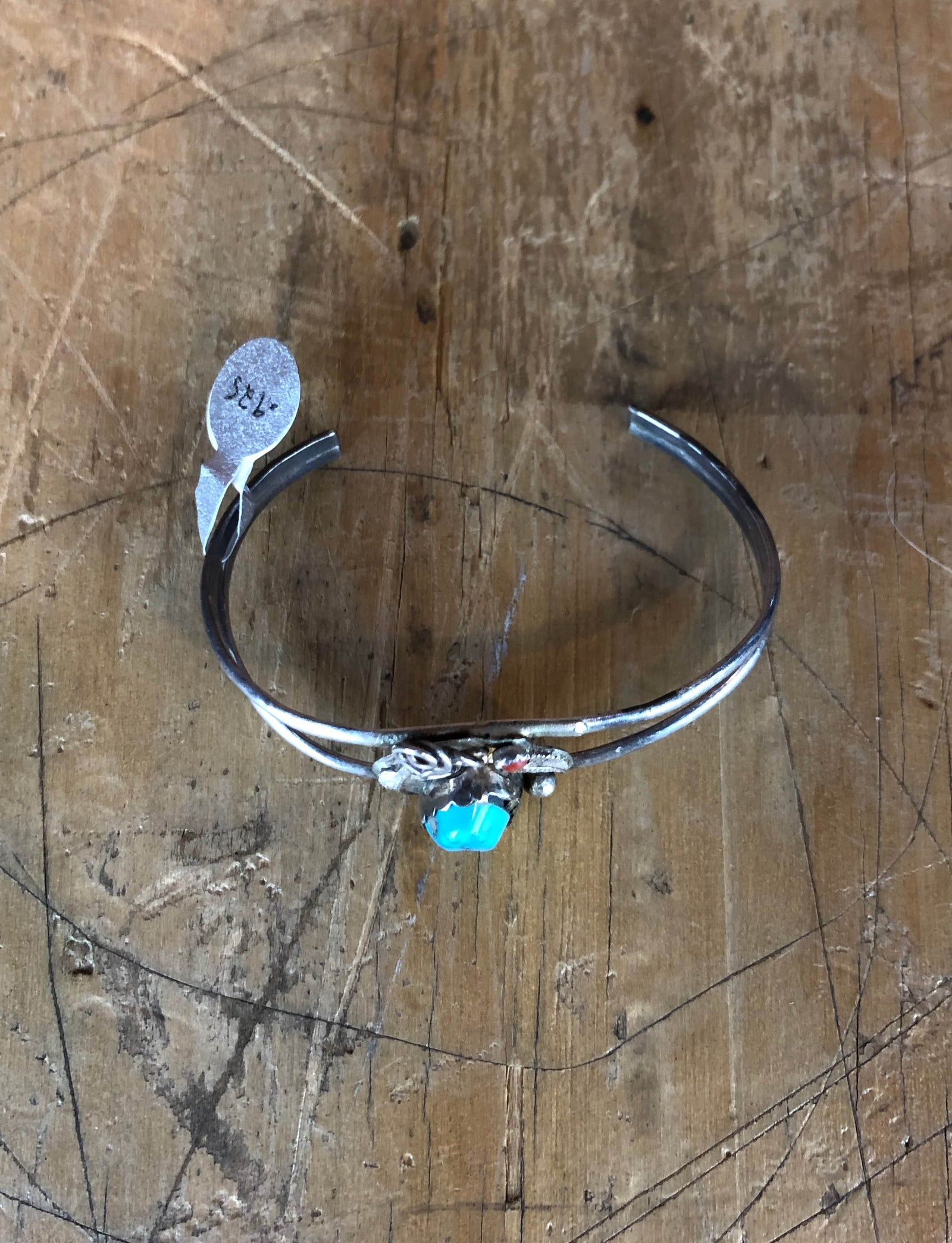 Vintage Sterling Silver Turquoise Coral Small Cuff