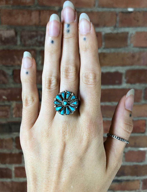 Vintage Sterling Silver Turquoise Flower Ring - Size 7