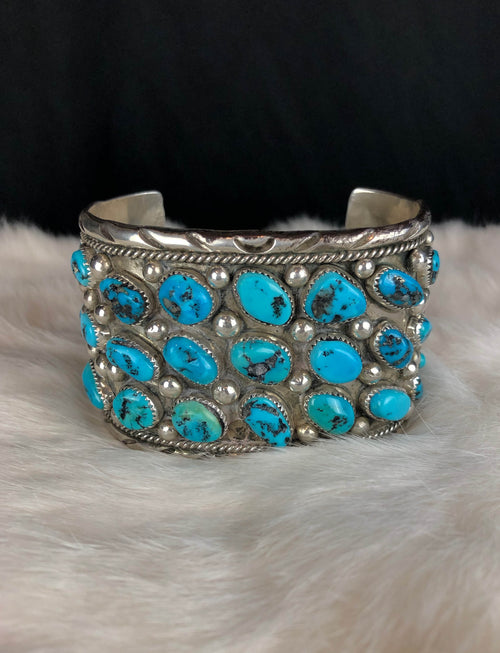 Vintage Sterling Silver Turquoise Large Cuff Bracelet