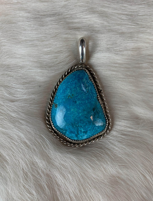 Vintage Sterling Silver Turquoise Pendant