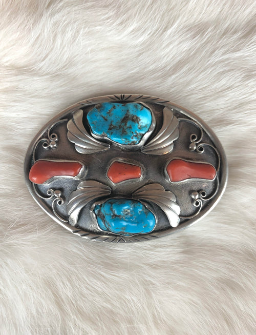 Vintage Sterling Silver Turquoise Red Coral Belt Buckle