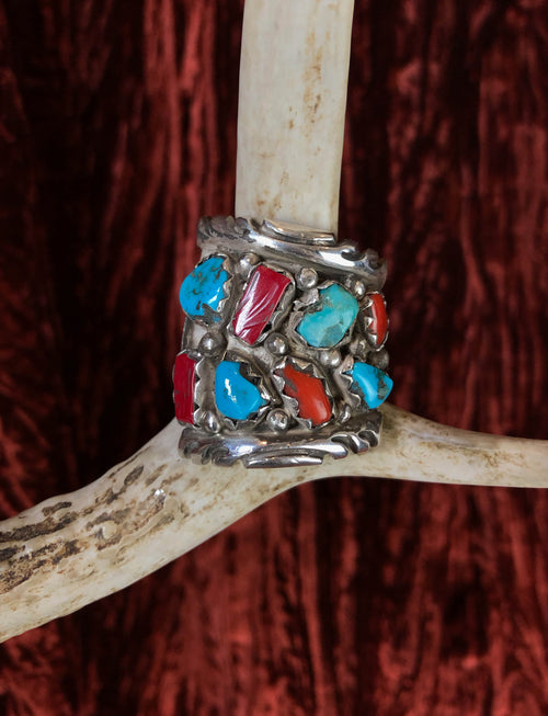 Vintage Sterling Silver Turquoise Red Coral Large Ring - Size 11