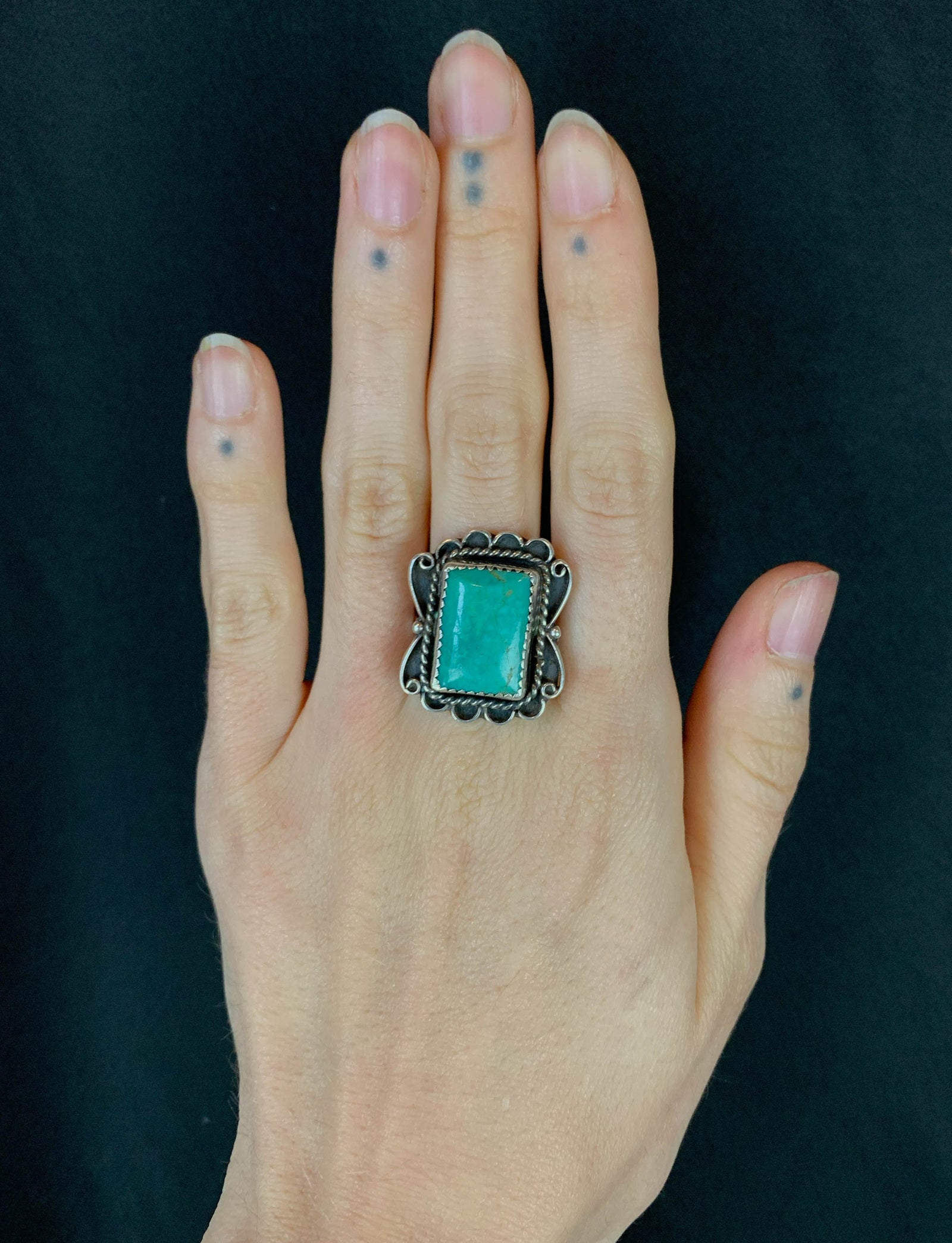 Vintage Sterling Silver Turquoise Square Ring - Size 9