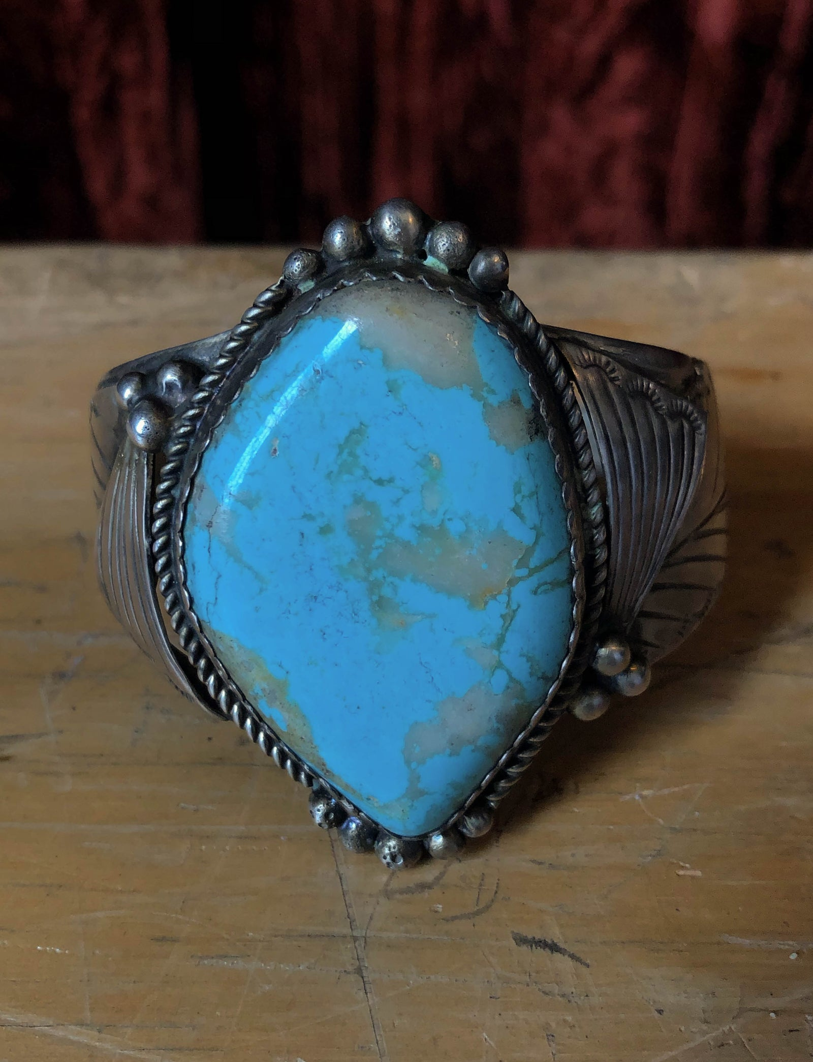 Vintage Sterling Silver And Speckled Turquoise Cuff Bracelet