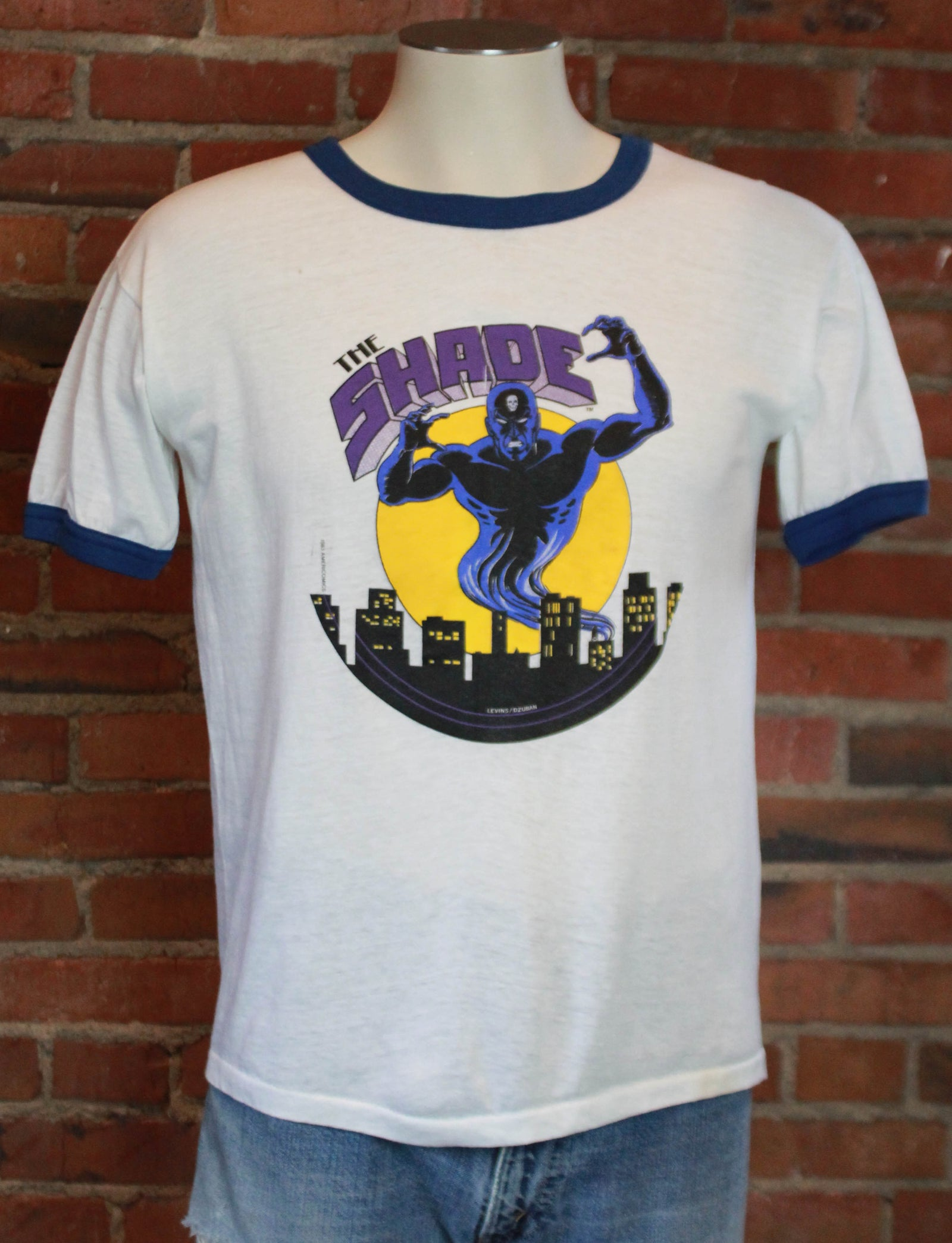 Vintage The Shade Comic Book Graphic Ringer Tee 1983 Unisex Medium