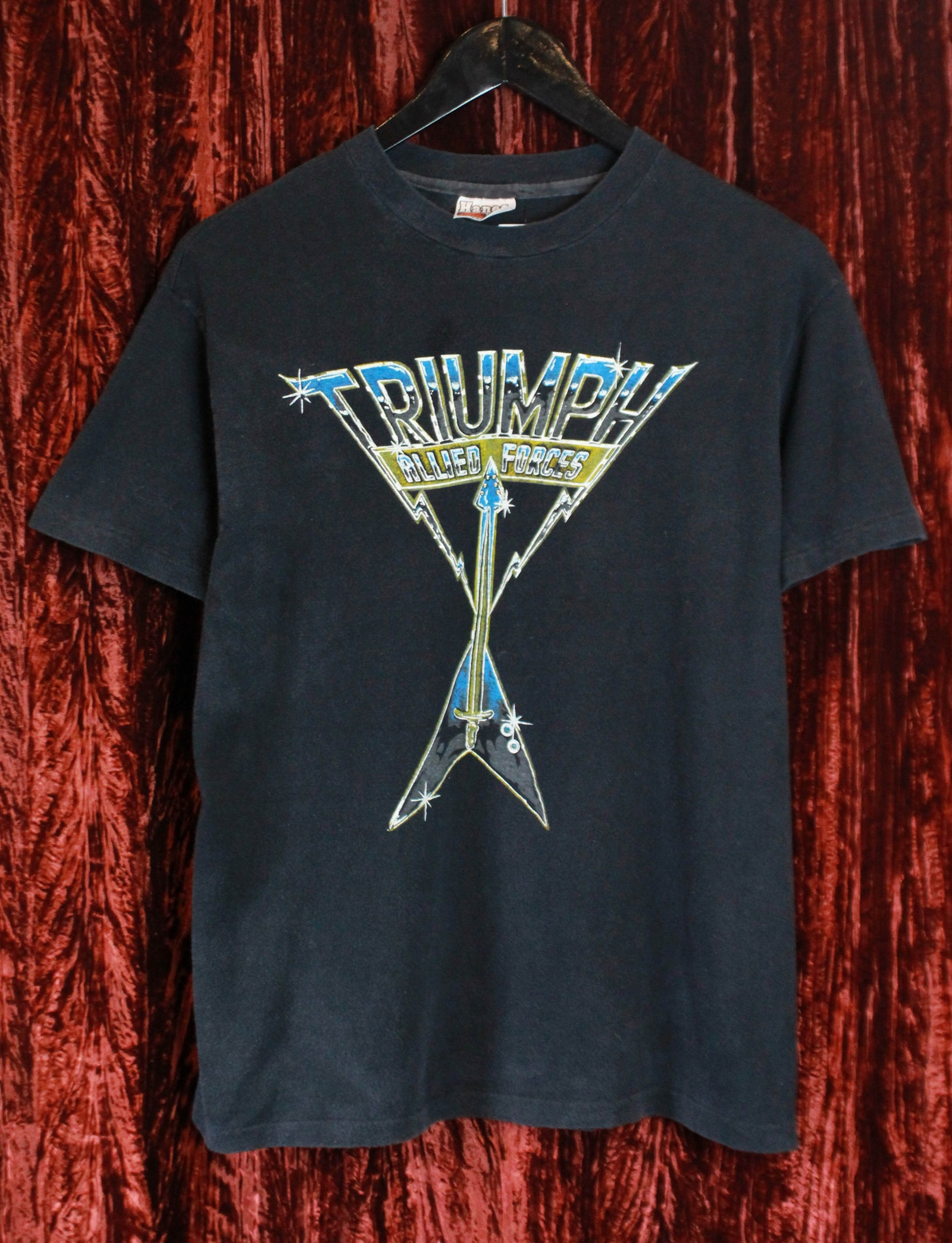 Vintage Triumph Concert T Shirt 1981 Allied Forces World Invasion Tour Unisex Medium