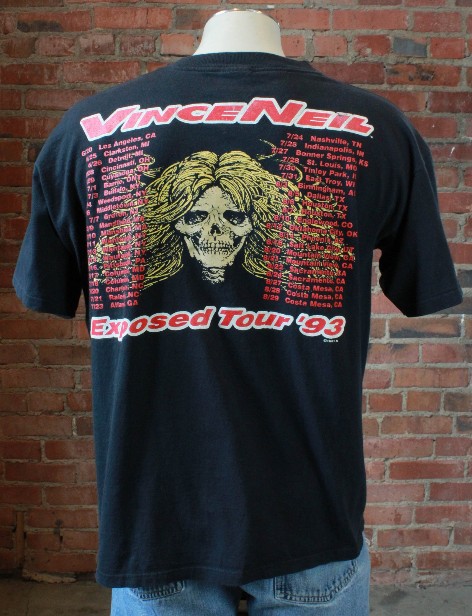 Vintage Vince Neil Concert T Shirt 1993 Exposed Tour Unisex Extra Large