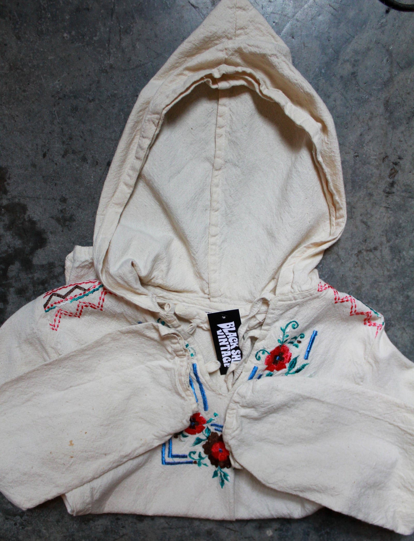 Women's Vintage 60's Nicaraguan Baja Embroidered Hooded Pullover Hand Crafted Loop Collar Extra Small