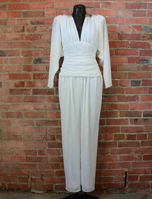 Women's Vintage 80's Elatra Jumpsuit Polyester Beaded Collar White Small/Medium