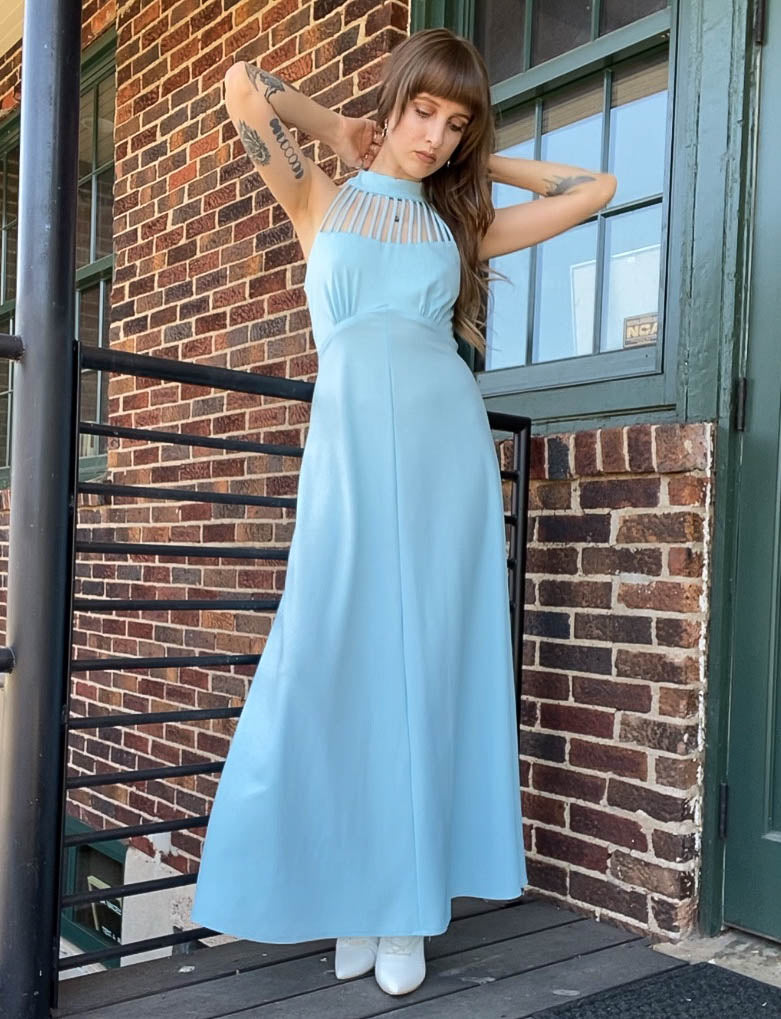 Women's Vintage 70's Union Made Powder Blue Strappy Maxi Dress - Small