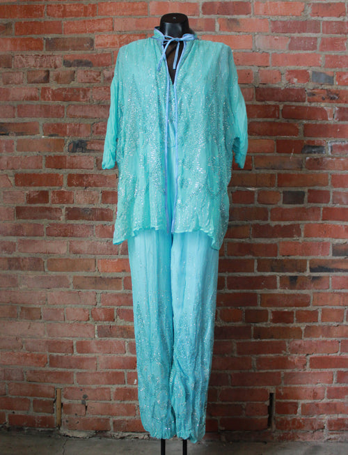 Women's Vintage 70's Two Piece Jumpsuit Pantsuit Polyester Rhinestones Baby Blue Small