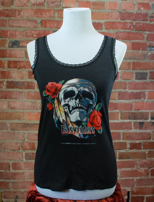 Women's Vintage 80's 3D Emblem Easy Riders T Shirt Tank Top Skull Roses Lace M/L