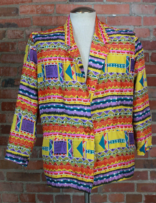 Women's Vintage 80's Bogari Blazer Jacket Silk Geometric Pattern Medium/Large