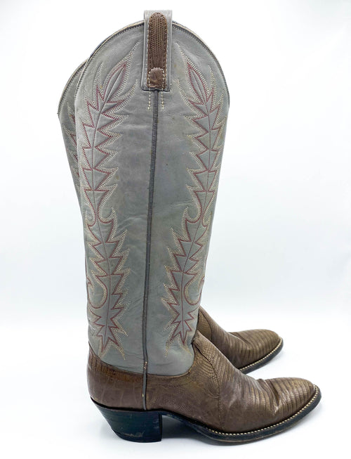 Women's Vintage 80's Dan Post Cowgirl Boots Grey Lizard Leather Size 7.5-8