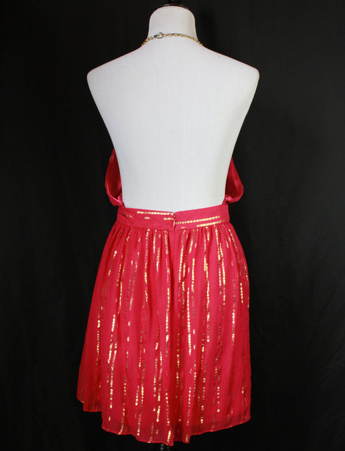 Women's Vintage 80's Fuchsia And Gold Halter Chain Dress - Small