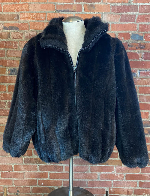 Women's Vintage 80's J. Hilary Faux Fur Coat Black Oversized Large/XL