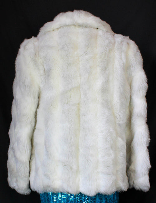 Women's Vintage 80's Jordache Coat Faux Fur Jacket White Medium/Large