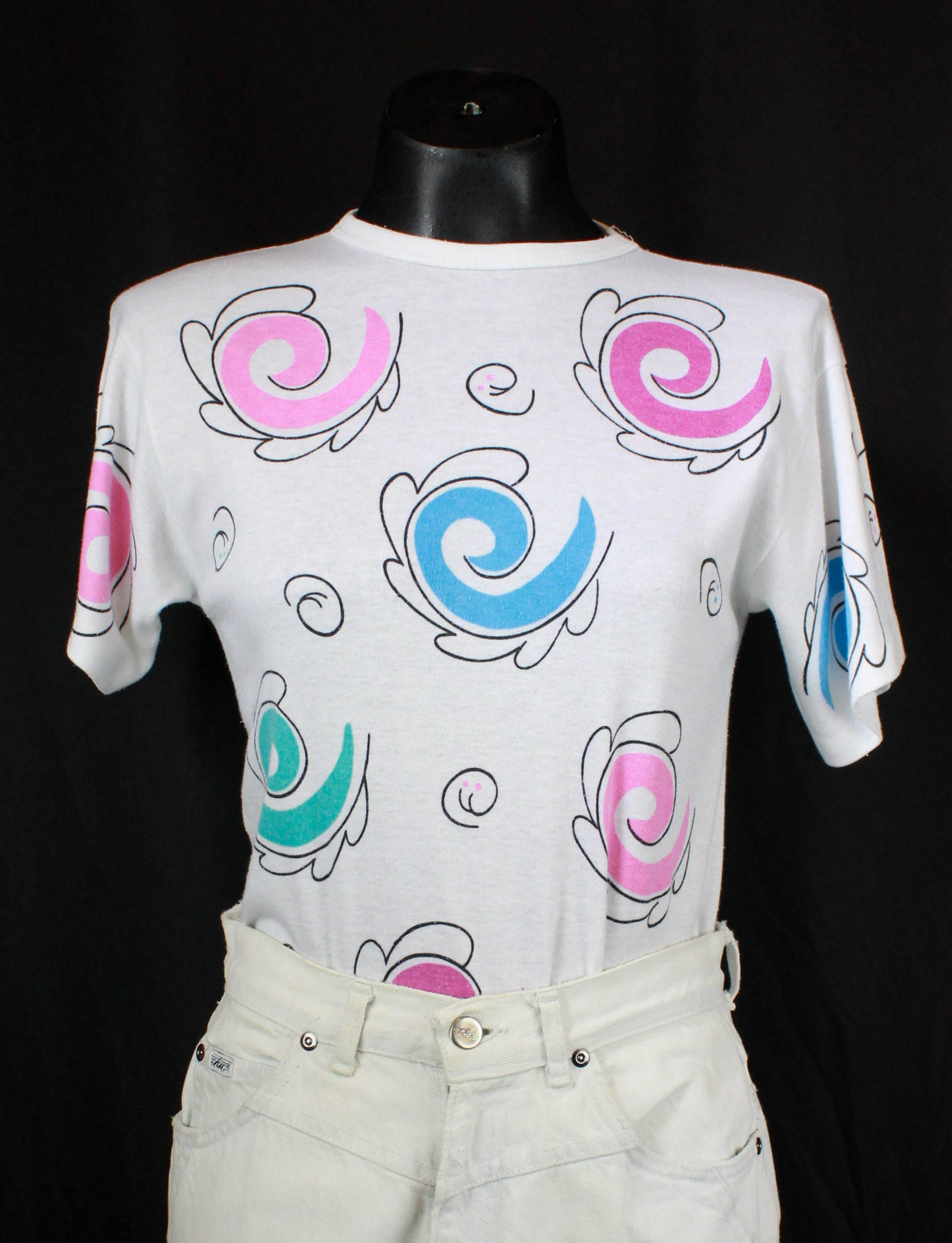 Women's Vintage 80's Swirl Graphic T Shirt White Rainbow Single Stitch Short Sleeve Small