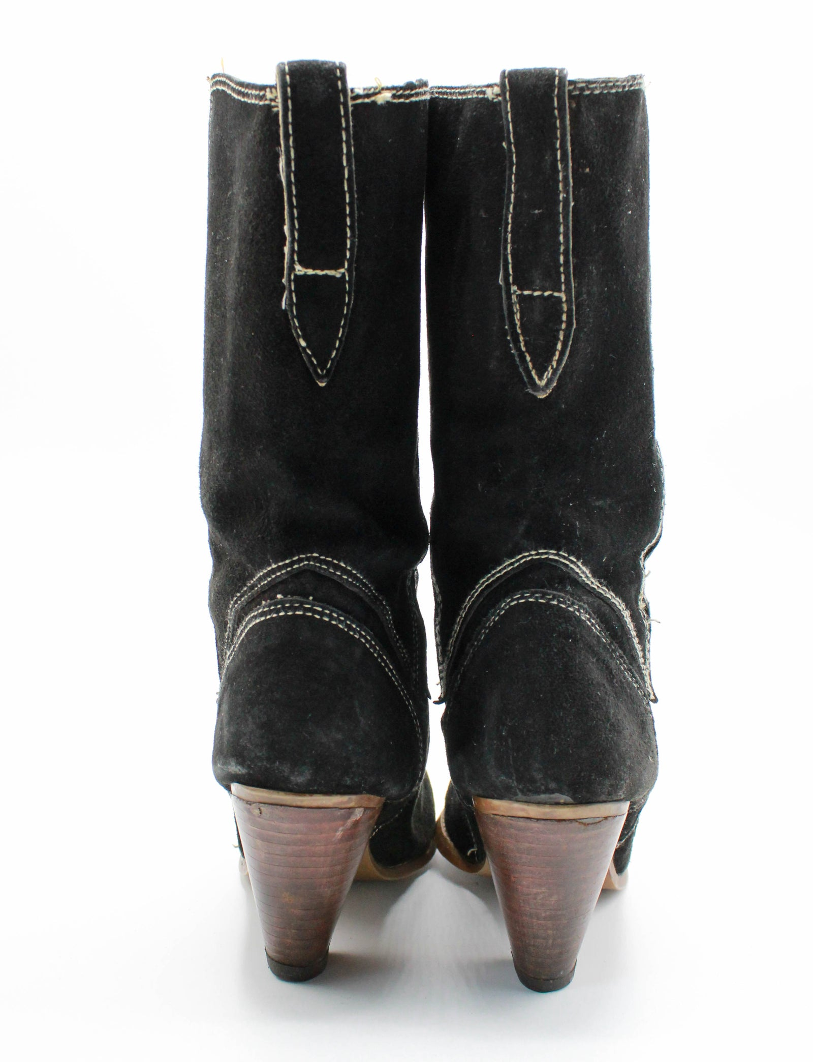Women's Vintage 80's Town & Country Boots Black Suede Cowgirl Western Size 7B