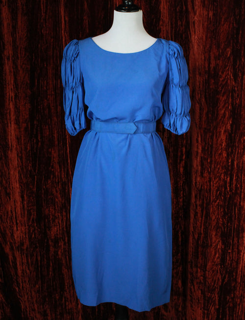 Women's Vintage Blue Belted Midi Dress With Smocked Sleeves - Small