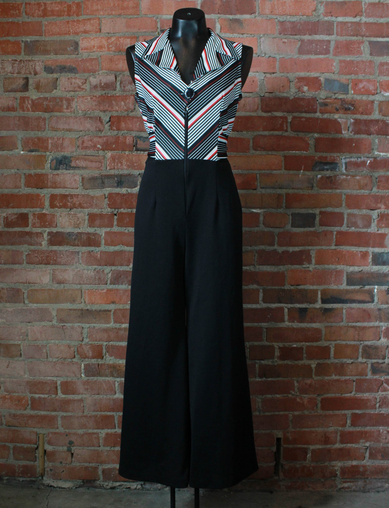 Women's Vintage 70's Jumpsuit Polyester Wide Leg Deep Cut Belt Red White Black Striped Small/Medium