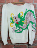 Women's Vintage 80's Nannell Dragon Sweater Knit Pullover Bejeweled Medium