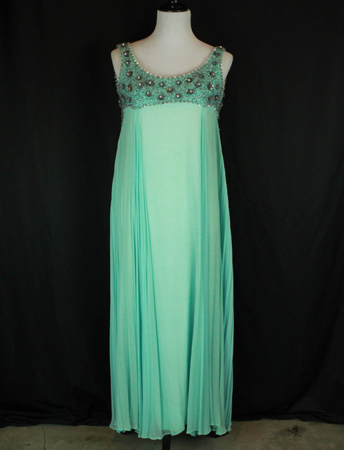 Women's Vintage 60's Baby Blue Beaded Formal Maxi Dress - XS