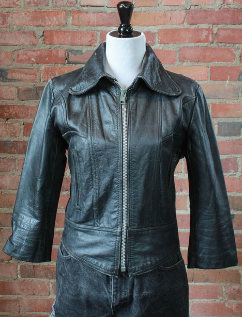 Women's Vintage 70's Emerson, Lake, And Palmer Studded Black Leather Jacket Medium