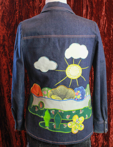 Vintage Green Denim Jacket Cropped 1970s XS