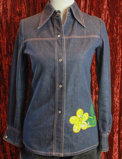 Women's Vintage 70's Denim Patchwork Button-Up Shirt by Neiman Marcus Size Small