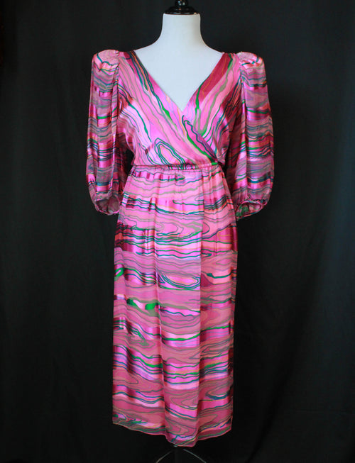 Women's Vintage 70's Diane Dickinson Saks Fifth Ave Pink And Green Dress - M/L