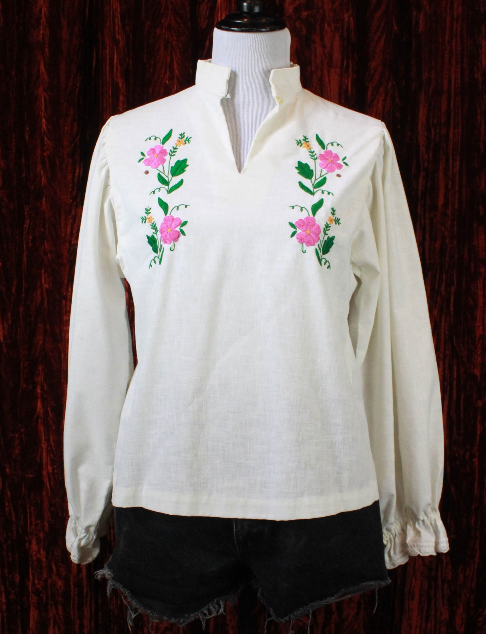 Women's Vintage 70's Embroidered White Linen Hippie Blouse - S/M