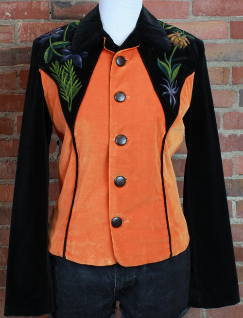 Women's Vintage 70's Hand Painted Velvet Jacket East West Musical Instruments Small